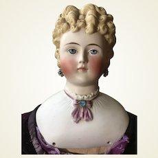 Large Fancy Antique Parian Lady Doll