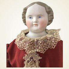 Antique Civil War Era Brown Hair Parian Doll