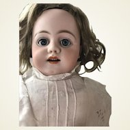 Large Simon Halbig 1010 Doll * Bisque Head Kid Leather Pierced Ears
