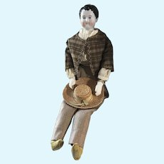 Large Early Antique Kinderkopf Boy Doll