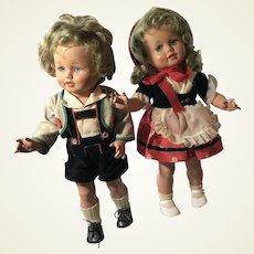 "Vintage 1950s German Turtle Mark Dolls 16"" Pair"