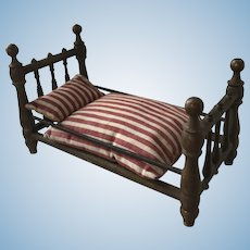 Antique  Larger Scale Miniature Bed for Dolls