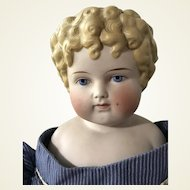 Antique Alt Beck Gottschalk Parian Molded Hair Little Girl with Curl Middle of Forehead Doll