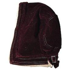 Antique Velvet Hood Bonnet for Large Antique Doll or Child Fashion