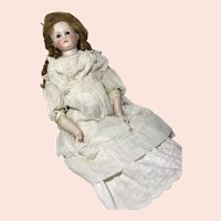 Large Bisque Head Round Face Shoulderhead Lady on Kid Body