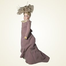 Kestner 162 on Original Turn of 19th C Lady Composition and Wooden Body Doll + Trunk and Trousseau