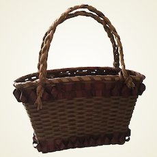 Antique Miniature Basket for French Fashion or other Antique Dolls
