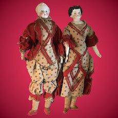 Rare Pair of Antique Original Costume Harlequin Pantomime Dolls