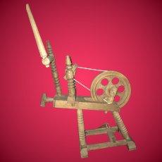 Vintage Bretagne Doll Size Breton Rustic Spinning Wheel