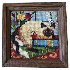 Crewel Embroidery Siamese Cat at Window