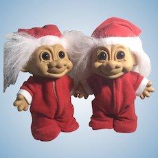 Pair Rare Vintage Russ Trolls Drop Seat Santa PJ Dolls