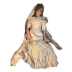 """32"""" OOAK Poured Wax Portrait Princess Bride Doll by Gillie Charlson"""