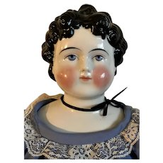 """Large 25"""" Antique Dolley Madison China Head Doll"""