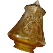 Large Iridescent Acid Etched Gold Glass Lamp Shade