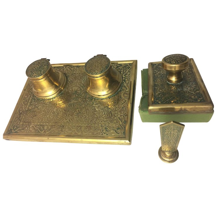 Vintage Antique Brass Inkwell Blotter Seal Desk Set Arts Crafts Movement