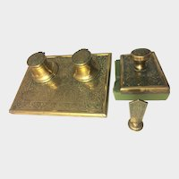 Antique Brass Desk Set Double Inkwell Blotter Seal