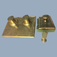 Double Inkwell, Blotter + Seal Desk Set Arts & Crafts Movement Antique Brass