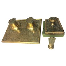 Antique Brass Desk Set Double Inkwell Blotter Seal