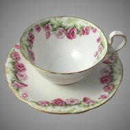 Vintage Aynsley Rose Tea Cup and Saucer Fine Bone China England