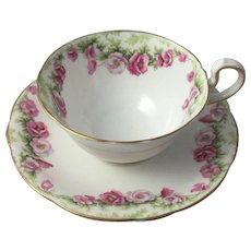 China & Dinnerware Noritake Kent 4 Tea Cups & 6 Saucers Silver Pink Flower Green Leaves Lustrous
