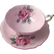 Tea Cup & Saucer Paragon Double Warrant England Fine Bone China Cabbage Rose Pink