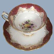 Vintage Hammersley Cup Saucer England Burgundy Gold China Fruit Art Deco Geometric Design