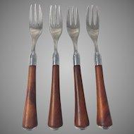 4 Vintage Bakelite Forks Butterscotch Flatware Silverware Mid Century Modern Glo Hill Art Deco Kitchenware