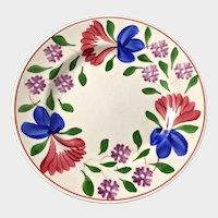 Spongeware Stick Spatterware England Beauville Pottery Plate