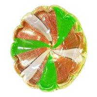 Murano Art Glass Bowl Ashtray Dish Aventurine Barbini Mid Century Modern MCM