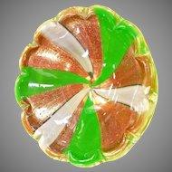 Vintage Italian MURANO Art Glass Bowl Ashtray Dish Aventurine Barbini Mid Century Modern