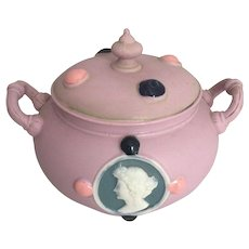 Schafer Vater Germany Art Nouveau Dresser Sugar Jar Jasperware Cameo Jeweled Pink Porcelain Vanity