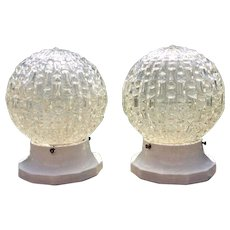 Art Deco Light Fixtures Ceiling Lamps Pair Chunky Art Glass Shades Geometric Architectural Salvage