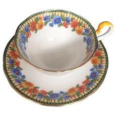 Aynsley Tea Cup & Saucer Bone China England Vintage Art Deco Floral Pattern