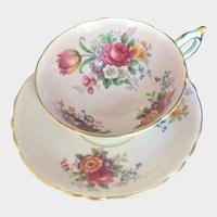 Paragon Tea Cup & Saucer Flowers Cabbage Rose Bone China England