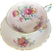 Vintage Paragon Tea Cup & Saucer Floral Flowers Cabbage Rose Bone China England