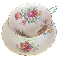 Vintage Paragon Tea Cup & Saucer Floral Flowers Cabbage Rose Bone China England
