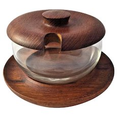 ESA Denmark Teak Wood Mid Century Danish Modern Treen Covered Condiment Serving Dish