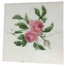 Antique English Majolica Pottery Tile Cabbage Rose Art Nouveau England