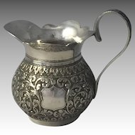 Anglo Indian Solid Silver Cream Pitcher Creamer