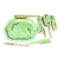 Art Deco Dresser Set 8 pcs Ivoris Celluloid Brushes Button Hook Set
