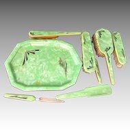 Art Deco Dresser Set 8 pcs Ivoris Celluloid Skyscraper Geometric Brushes Button Hook Set