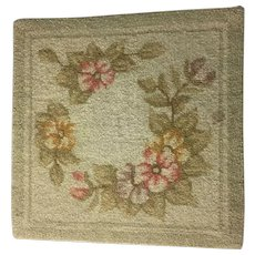 Vintage Hooked Rug Table Mat Wall Hanging Hooking Flowers Cheticamp NS Textile Folk Art