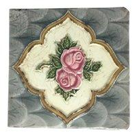 Majolica Pottery Tile Rose Victorian H.R. Johnson England Art & Crafts