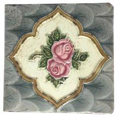Antiques Tile Ceramic Porcelain Vintage Art Nouveau Rose H & R Johnson England Genuine #5