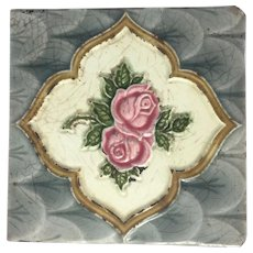 Majolica Pottery Tile Rose Victorian H.R. Johnson Cristal England Art & Crafts Movement