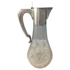 Antique Claret Jug Austro-Hungarian 800 Silver Cut Glass Art Nouveau Jugendstil Secessionist