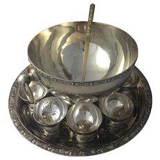 Vintage Silverplate Punch Bowl Set J Perez Ruiz Spain Serving Tray 8 Cups Barware