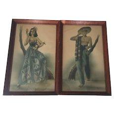 Vintage Art Prints Telo Mid Century Modern Design Spanish Latino Couple Lithograph