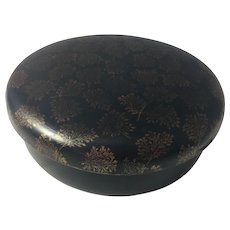 Japanese Paper Mâché Box Meiji Trinket Sewing Round w Lid Storage