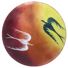 Mid Century Modern Enamel on Copper Dish Art Phoenix Birds Charger Plate Vintage